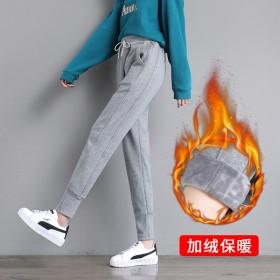 秋冬运动裤女灰色休闲大码高腰哈伦卫裤加绒加厚长裤子