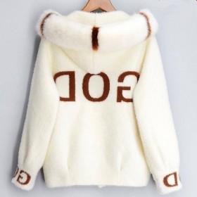 加厚仿水貂绒小外套女秋装2020年新款短款毛衣连帽