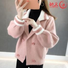 2020冬装女新仿水貂绒外套短款小个子宽松毛衣冬季