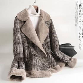 宽松韩版夹克2020秋冬款格子百搭皮毛一体羊羔绒厚