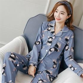 睡衣女秋冬季长袖甜美韩版大码月子服产后家居服套装