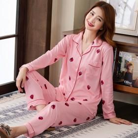 睡衣女家居服套装月子服开衫长袖可爱韩版学生可外穿
