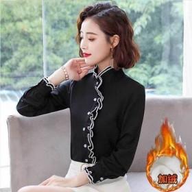 加绒/薄款衬衫女长袖秋冬韩版打底衫白色上衣衬衣