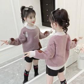 女童毛衣冬季新款中大童韩版加厚针织衫女孩仿貂绒套头