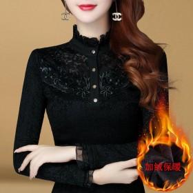 加绒/薄款蕾丝衫打底衫女修身上衣长袖大码保暖T恤