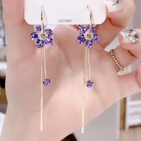 925银针一款两戴耳环女长款百搭满钻花朵流苏耳饰显