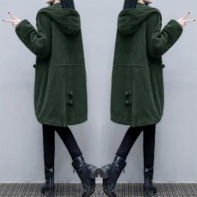 杭州灯芯绒棉衣中长款冬宽松显瘦连帽复古保暖棉服外套