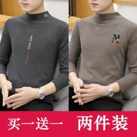 2件双面绒卫衣加绒半高领T恤男打底衫休闲弹性衣服