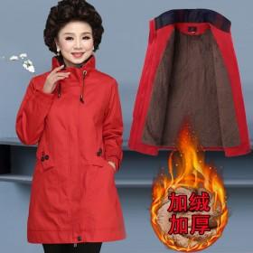 加绒加厚妈妈风衣中长款春秋外套款中老年女春装上衣