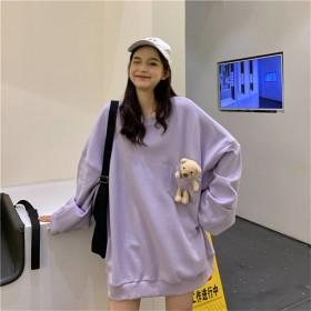 亲子款小熊卫衣新款韩版慵懒风时尚宽松中长款长袖上衣