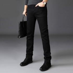 牛仔裤男冬款加绒加厚直筒修身弹力男士休闲黑色长裤子