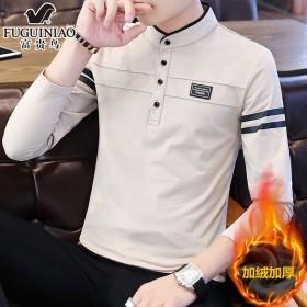 富贵鸟加绒加厚纯棉长袖t恤男polo衫韩版打底衫