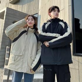 加绒加厚情侣装学生款冬装外套韩版宽松连帽棉服