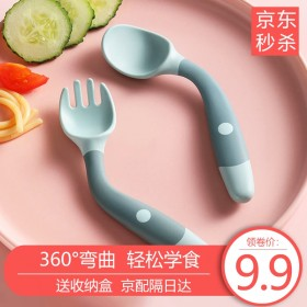 COOKSS宝宝婴儿学吃饭训练勺子弯头叉勺套装