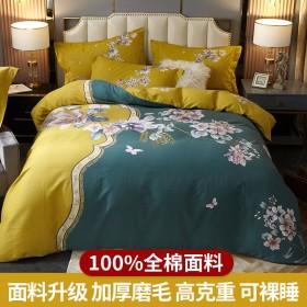 南方生活100%全棉磨毛加厚纯棉四件套秋冬被套床单