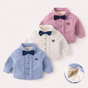 男童加绒衬衣冬装新款宝宝保暖衬衫加厚打底衫t恤