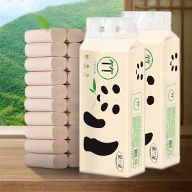 家用实惠装厕纸本色卷纸无心竹浆12卷纸巾手纸