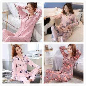 秋冬牛奶丝睡衣女丝滑长袖套装家居服韩版印花卡通时尚