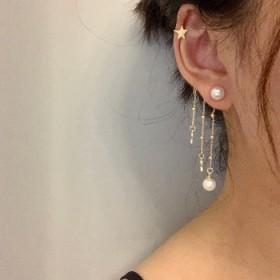 小茉莉婶儿家小仙女不对称流星珍珠耳骨夹一体式耳环