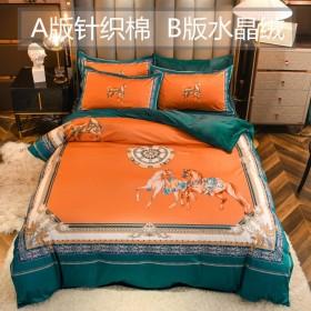 针织棉水晶绒四件套AB大版被套珊瑚绒秋冬床上用品