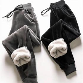 加绒加厚束脚运动裤女冬季保暖哈伦裤休闲裤卫裤九分裤