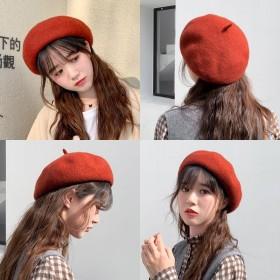 秋冬帽子女羊毛贝雷帽英伦复古韩版日系蓓蕾帽八角帽