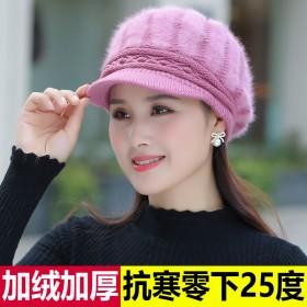 加绒针织帽女帽子圆脸大脸显瘦冬天季洋气鸭舌帽