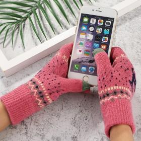 触屏加绒手套女可爱韩版学生网红款滑雪棉手套女保