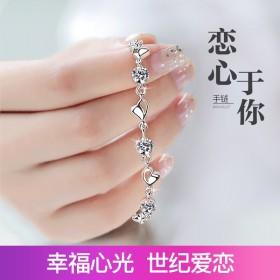 S925银手链女士韩版学生手镯情侣