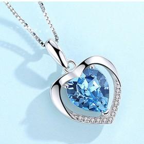 925银项链女纯银时尚个性韩版白金永恒之心吊坠爱心