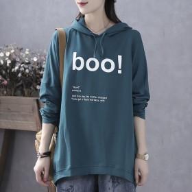 含棉秋冬季韩版宽松薄款连帽长袖T恤卫衣女