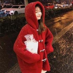 冬季新款毛绒仿羊羔毛绒外套宽松连帽牛角扣加厚上衣