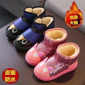 儿童雪地靴防水皮面靴子冬男女童亮片棉鞋加绒保暖短靴