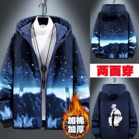 冬季新款两面穿韩版潮流学生棉服加厚男士棉袄外套