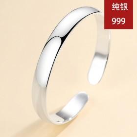 S999银手镯女纯银情侣光面首饰品