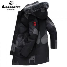 莱诗伯特冬季新款羽绒服男中长款白鸭绒狐狸毛领外套