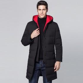 莱诗伯特冬季新款连帽羽绒服男中长款加厚保暖男士外套