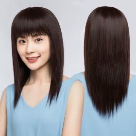 假发女长发自然全头仿真发逼真直发时尚妈妈款头套式齐