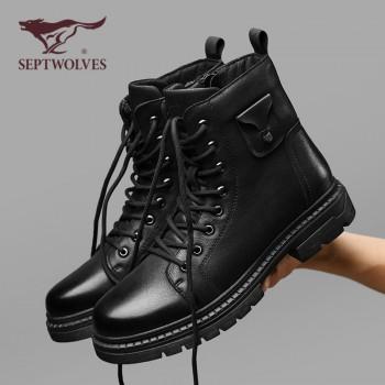七匹狼马丁鞋男士皮鞋长筒雪地靴