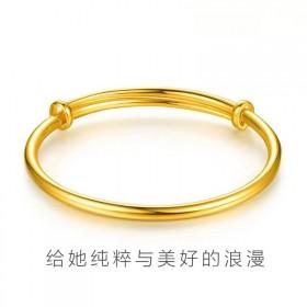 真沙金手镯光面黄金简约时尚