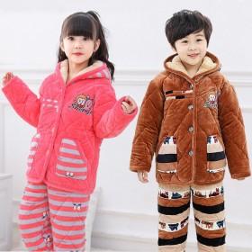 儿童睡衣冬季三层夹棉加绒加厚男女童法兰绒