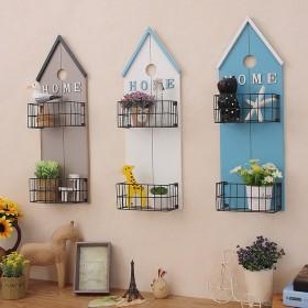 北欧小房子造型墙上置物架客厅挂件背景壁饰挂花篮收家
