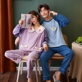 青年情侣睡衣纯棉长袖秋冬季卡通少女士韩版家居服男士