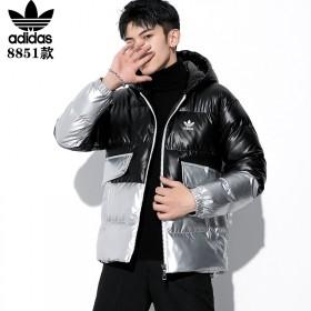 阿迪达斯冬季韩版青春休闲亮面潮流棉衣大码外套