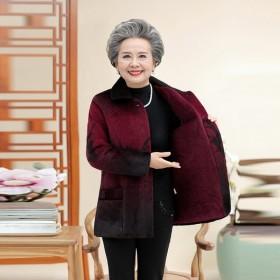 中老年女装秋冬装仿貂毛外套
