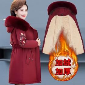 妈妈冬装外套加厚羽绒棉服中老年人棉衣女中长款高贵中