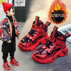 男童运动鞋2020秋冬季保暖新款高帮皮面防水儿童中