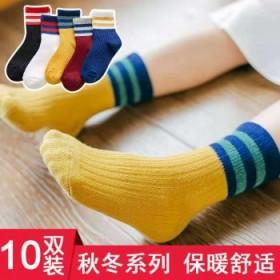 10双秋冬纯棉加厚儿童袜夏男童袜女