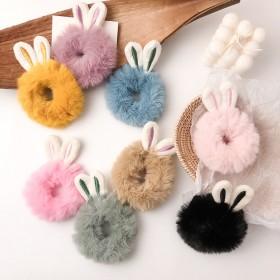 可爱毛绒熊耳朵头绳少女心兔耳朵发绳韩国东大门卡通发