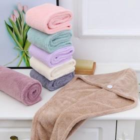 珊瑚绒素色干发帽女吸水速干长发吸水毛巾包头巾抖音网